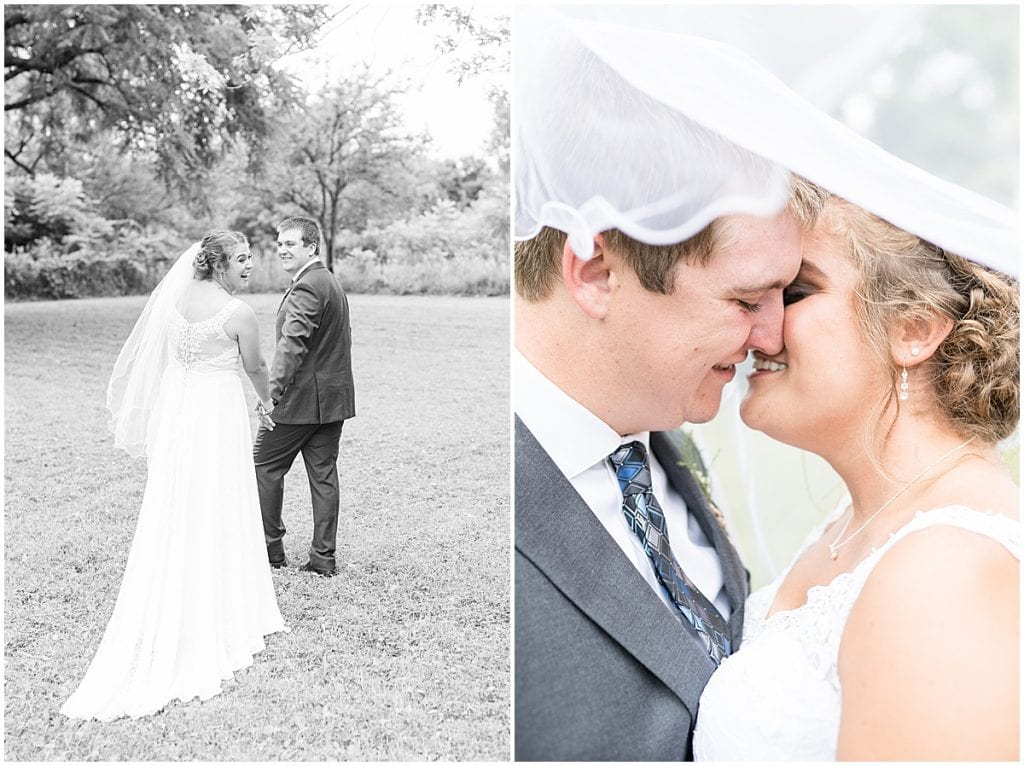 Bride and groom photos at Hawk Point Acres Wedding in Anderson, Indiana
