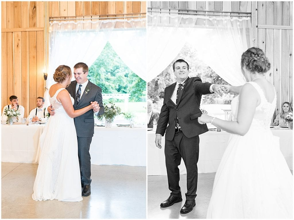 First dance at Hawk Point Acres Wedding in Anderson, Indiana