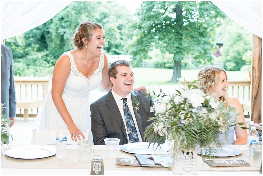 Reception photo at First dance at Hawk Point Acres Wedding in Anderson, Indiana
