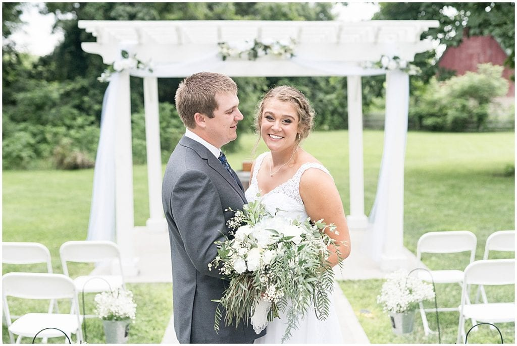 Bride and groom portrait at Hawk Point Acres Wedding in Anderson, Indiana