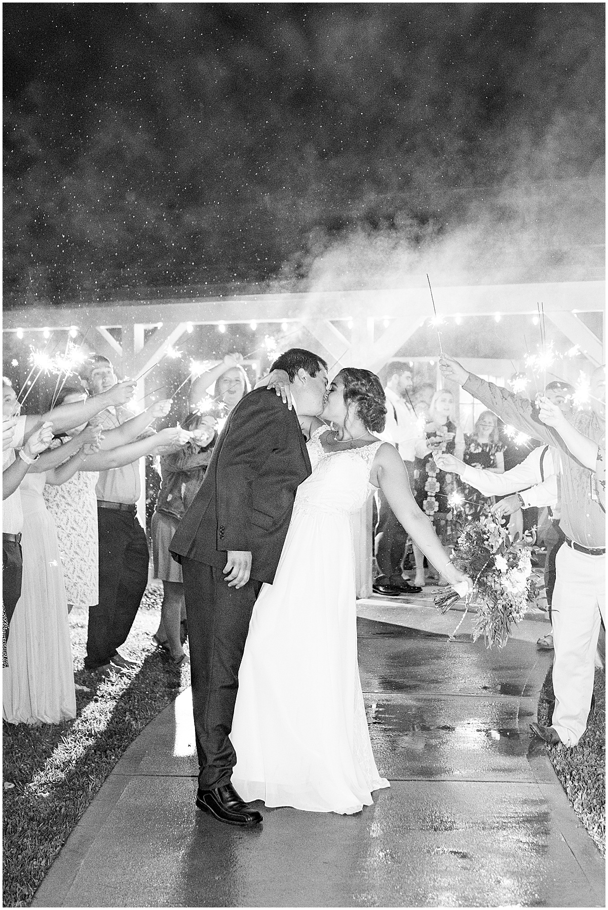 Bride and groom sparkler exit at Hawk Point Acres Wedding in Anderson, Indiana