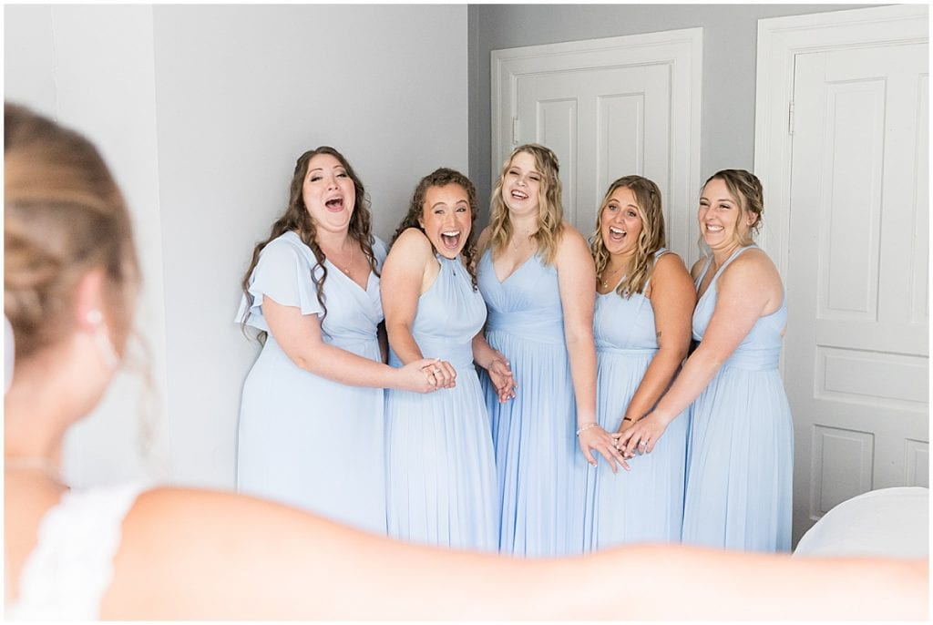 Bridesmaids first look before Hawk Point Acres Wedding in Anderson, Indiana