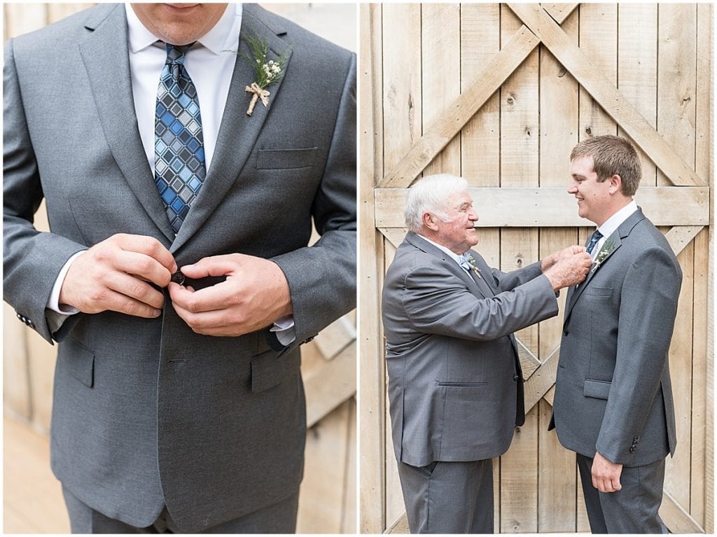 Groom getting ready for Hawk Point Acres Wedding in Anderson, Indiana