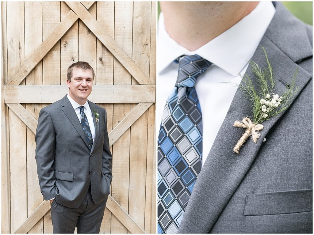 Groom before Hawk Point Acres Wedding in Anderson, Indiana