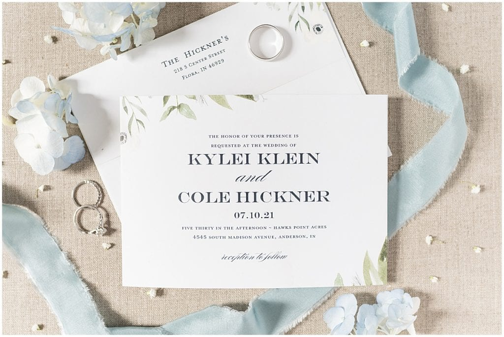 Invitation photos at Hawk Point Acres Wedding in Anderson, Indiana