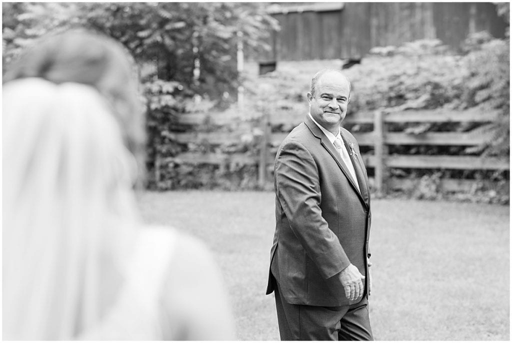 First look with dad before Hawk Point Acres Wedding in Anderson, Indiana