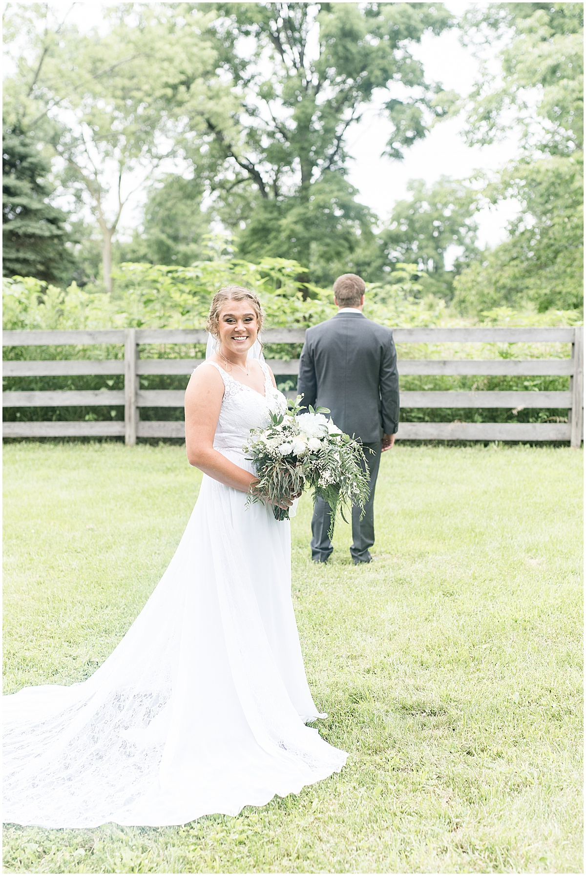 Bride and groom first look before Hawk Point Acres Wedding in Anderson, Indiana