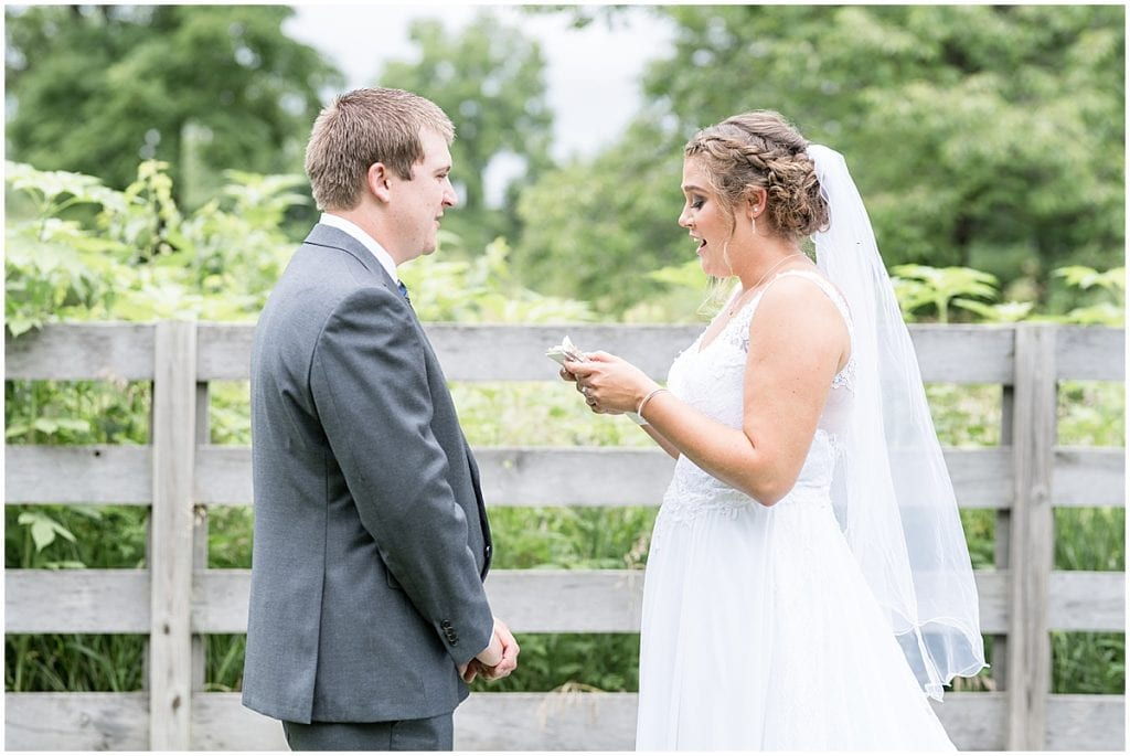 Bride and groom before Hawk Point Acres Wedding in Anderson, Indiana