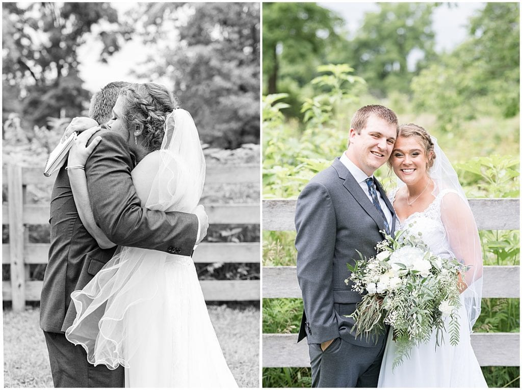 Bride and groom photos before Hawk Point Acres Wedding in Anderson, Indiana