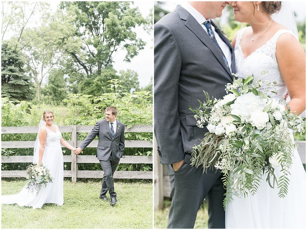 Bride and groom photos at a Hawk Point Acres Wedding in Anderson, Indiana