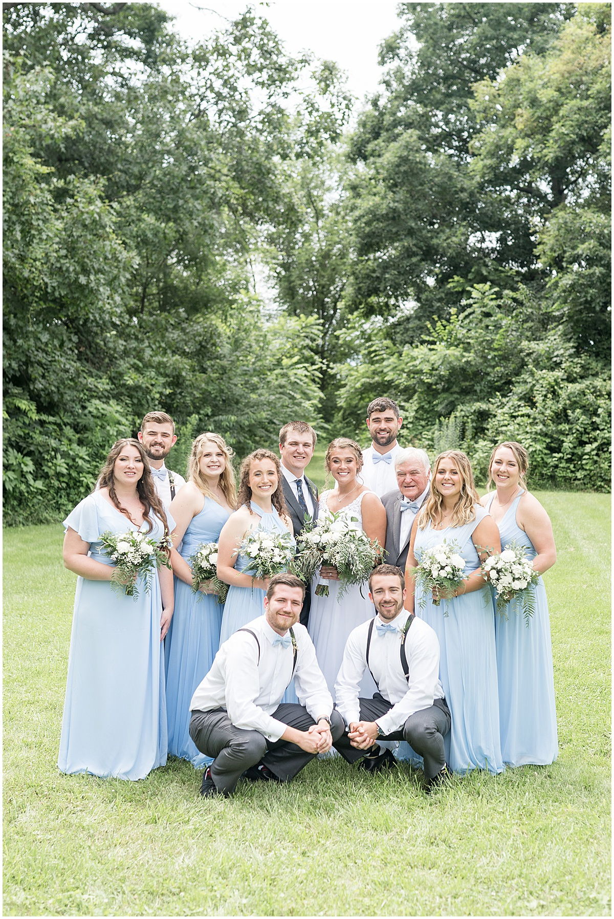 Wedding party photos at a Hawk Point Acres Wedding in Anderson, Indiana