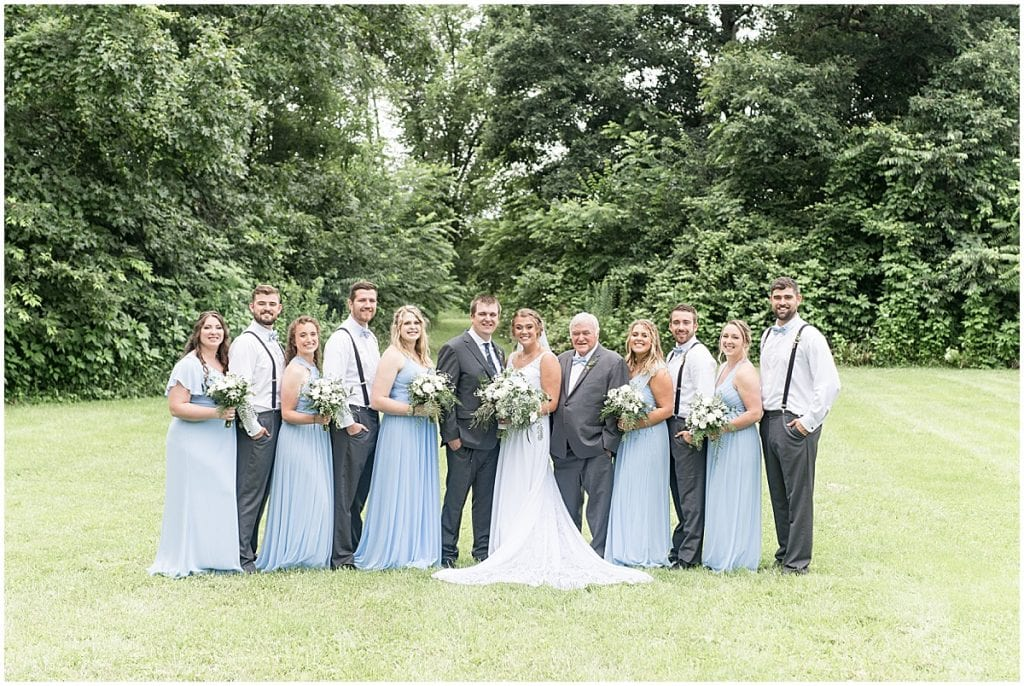 Wedding party portrait at a Hawk Point Acres Wedding in Anderson, Indiana