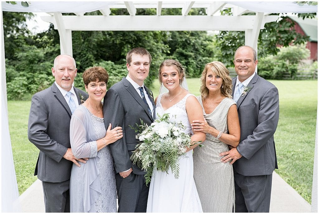 Family photo at Hawk Point Acres Wedding in Anderson, Indiana