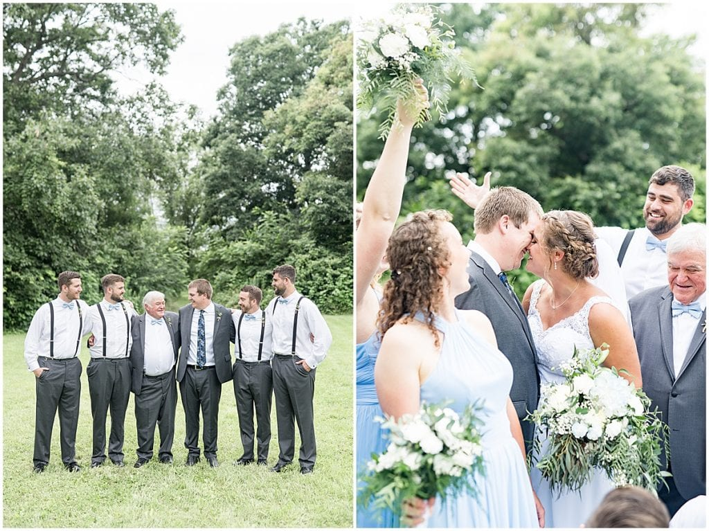 Wedding party photos at Hawk Point Acres Wedding in Anderson, Indiana