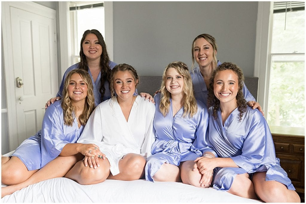 Bride and bridesmaids getting ready for Hawk Point Acres Wedding in Anderson, Indiana