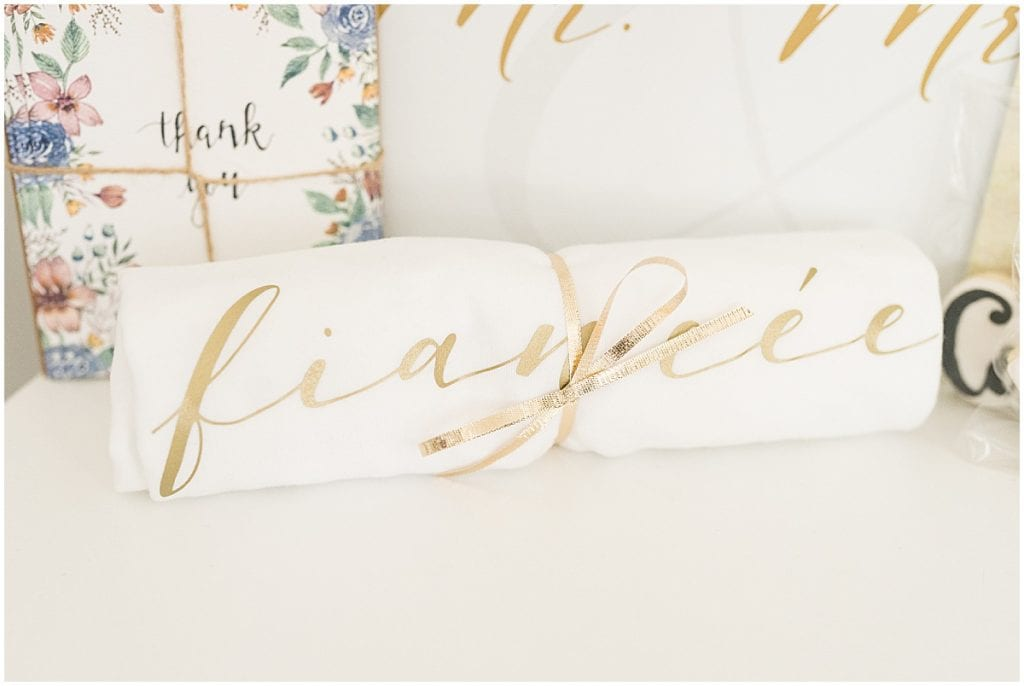 """A t-shirt that says """"fiancée"""" include in Victoria Rayburn Photography's client welcome gift"""