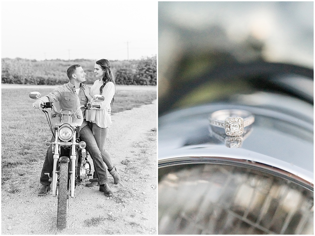 Engagement photos with motorcycles in Veedersburg, Indiana by Lafayette, Indiana wedding photographer Victoria Rayburn Photography