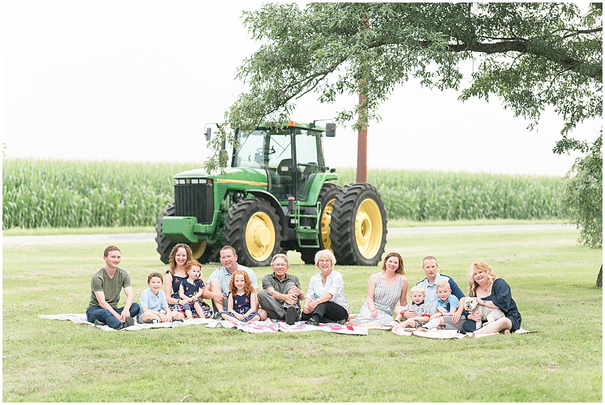 Extended family photos on the farm in Remington, Indiana with a tractor