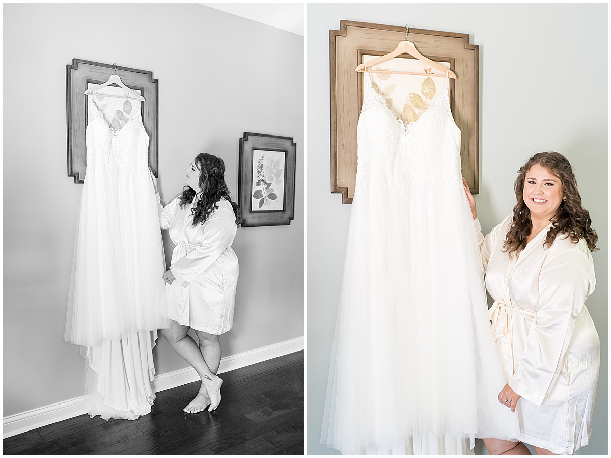 Bride getting ready for outdoor private property wedding in Frankfort, Indiana by Victoria Rayburn Photography