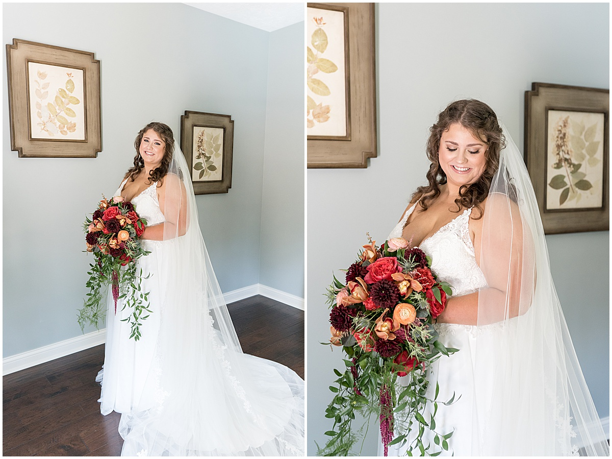 Bride portraits at outdoor private property wedding in Frankfort, Indiana by Victoria Rayburn Photography