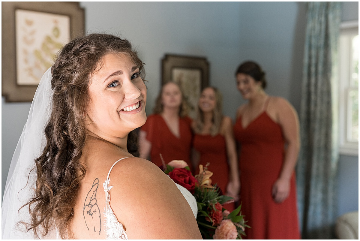 Bridesmaids first look before outdoor private property wedding in Frankfort, Indiana by Victoria Rayburn Photography