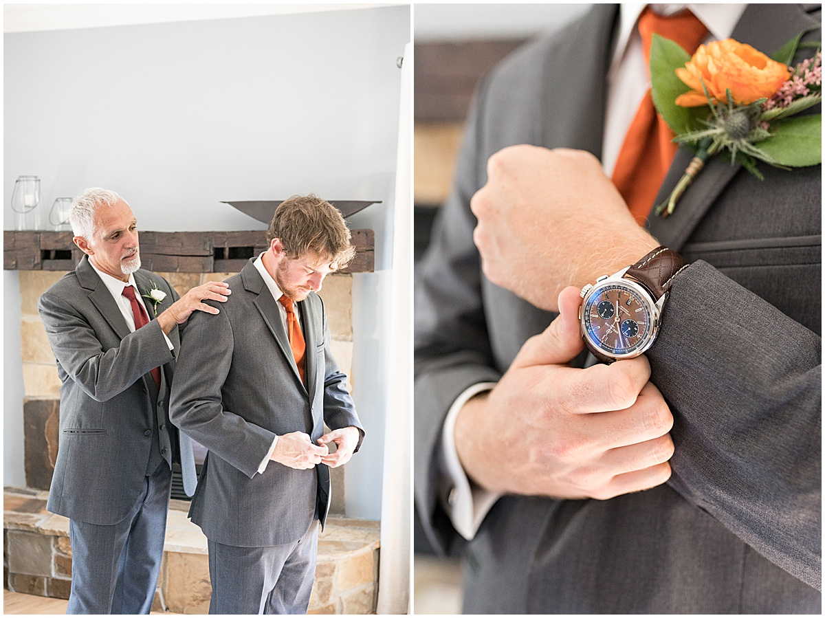 Groom getting ready for outdoor private property wedding in Frankfort, Indiana by Victoria Rayburn Photography