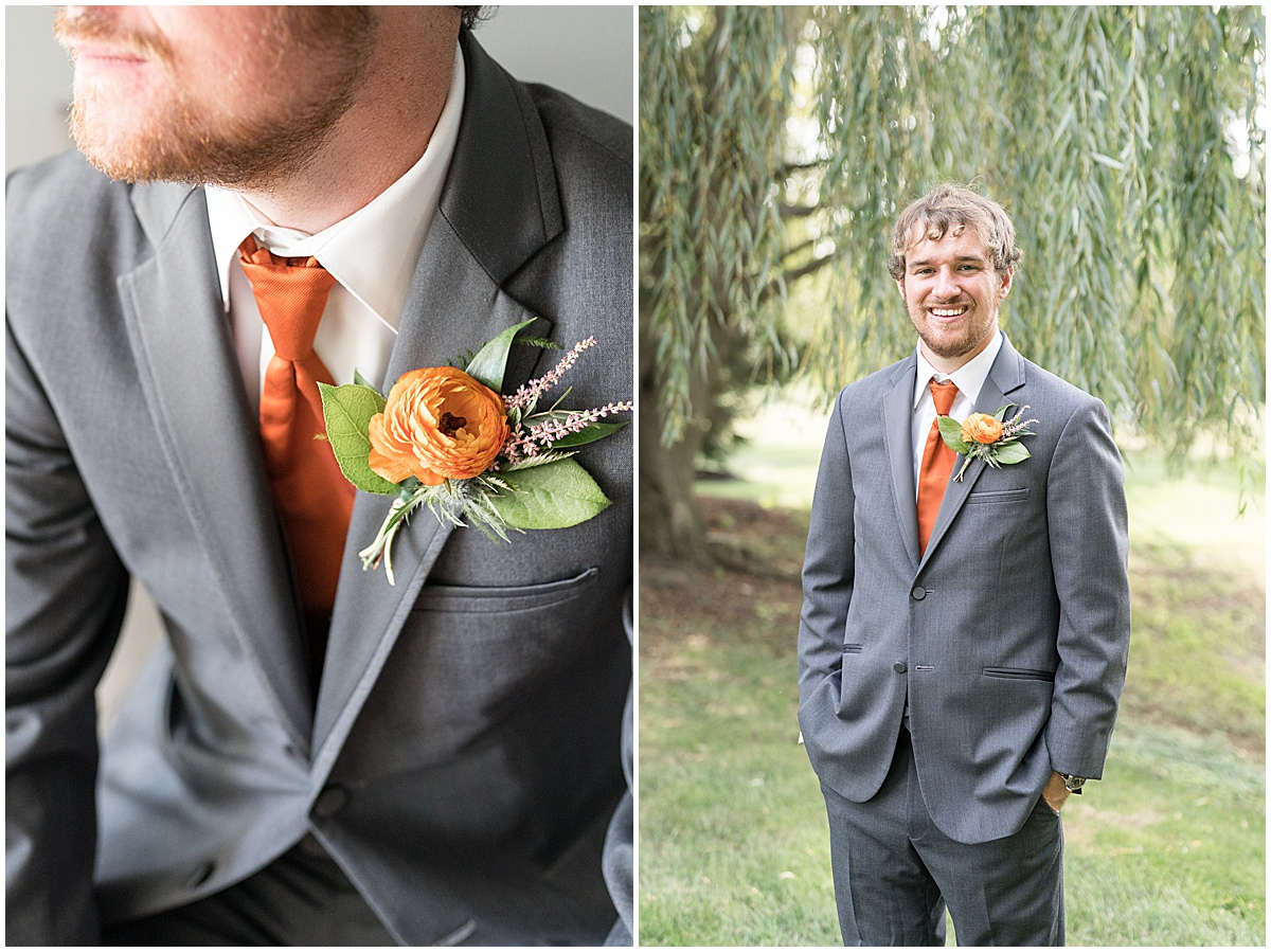 Groom portraits for outdoor private property wedding in Frankfort, Indiana by Victoria Rayburn Photography