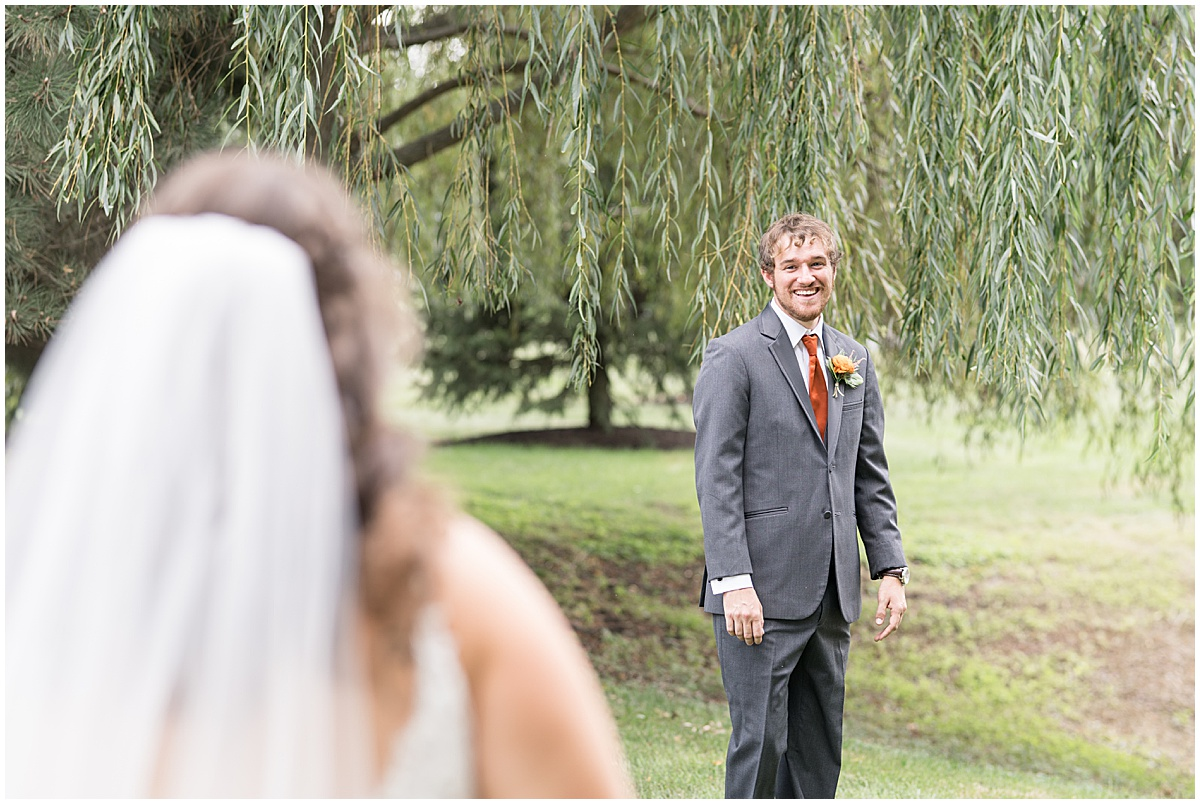 First look before outdoor private property wedding in Frankfort, Indiana by Victoria Rayburn Photography