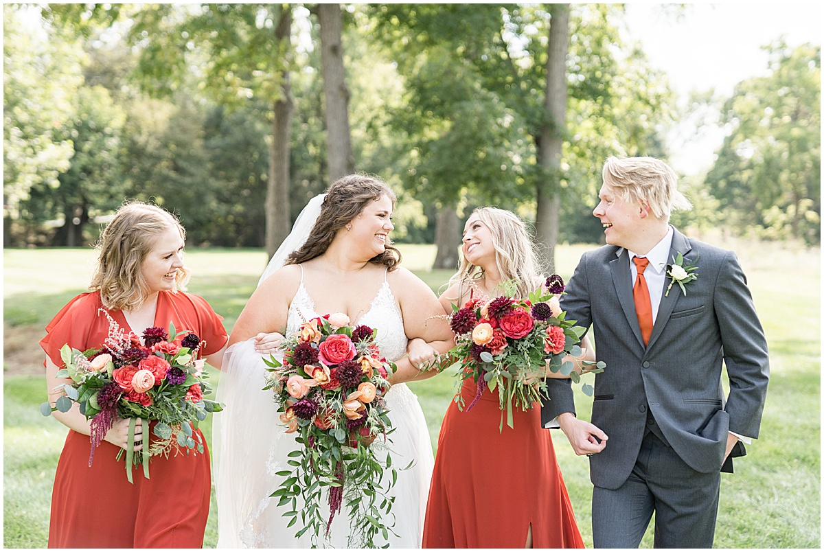 Bridal party photos at outdoor private property wedding in Frankfort, Indiana by Victoria Rayburn Photography