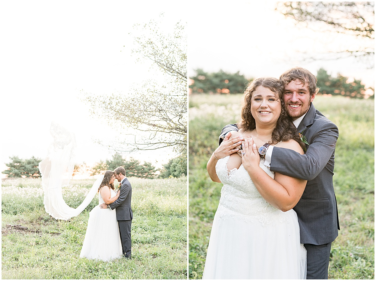 Sunset photos after outdoor private property wedding in Frankfort, Indiana by Victoria Rayburn Photography