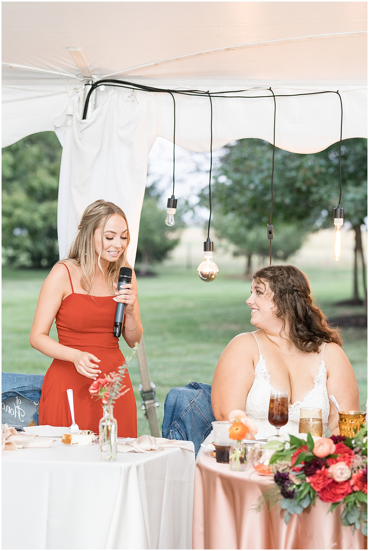Speeches at outdoor private property wedding in Frankfort, Indiana by Victoria Rayburn Photography