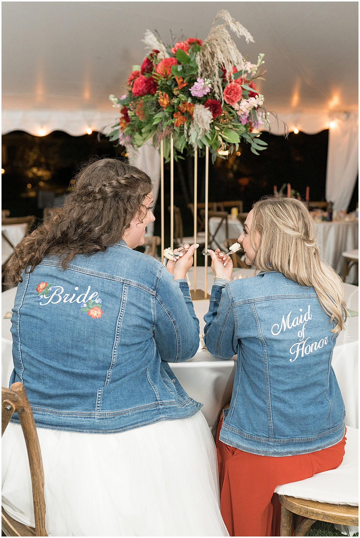Bride with maid of honor at outdoor private property wedding in Frankfort, Indiana by Victoria Rayburn Photography