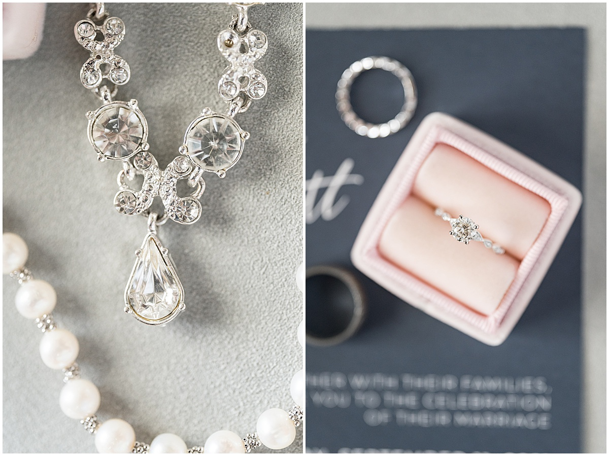 Bridal details for wedding at The Edge in Anderson, Indiana