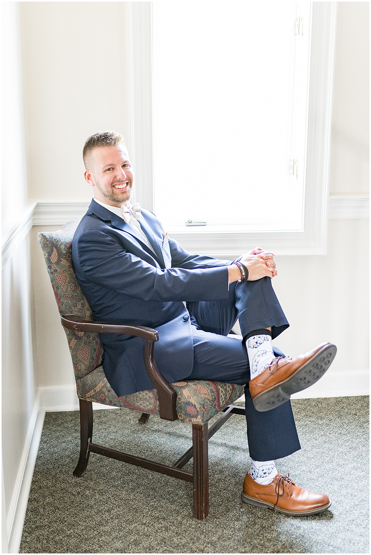 Groom before wedding at The Edge in Anderson, Indiana