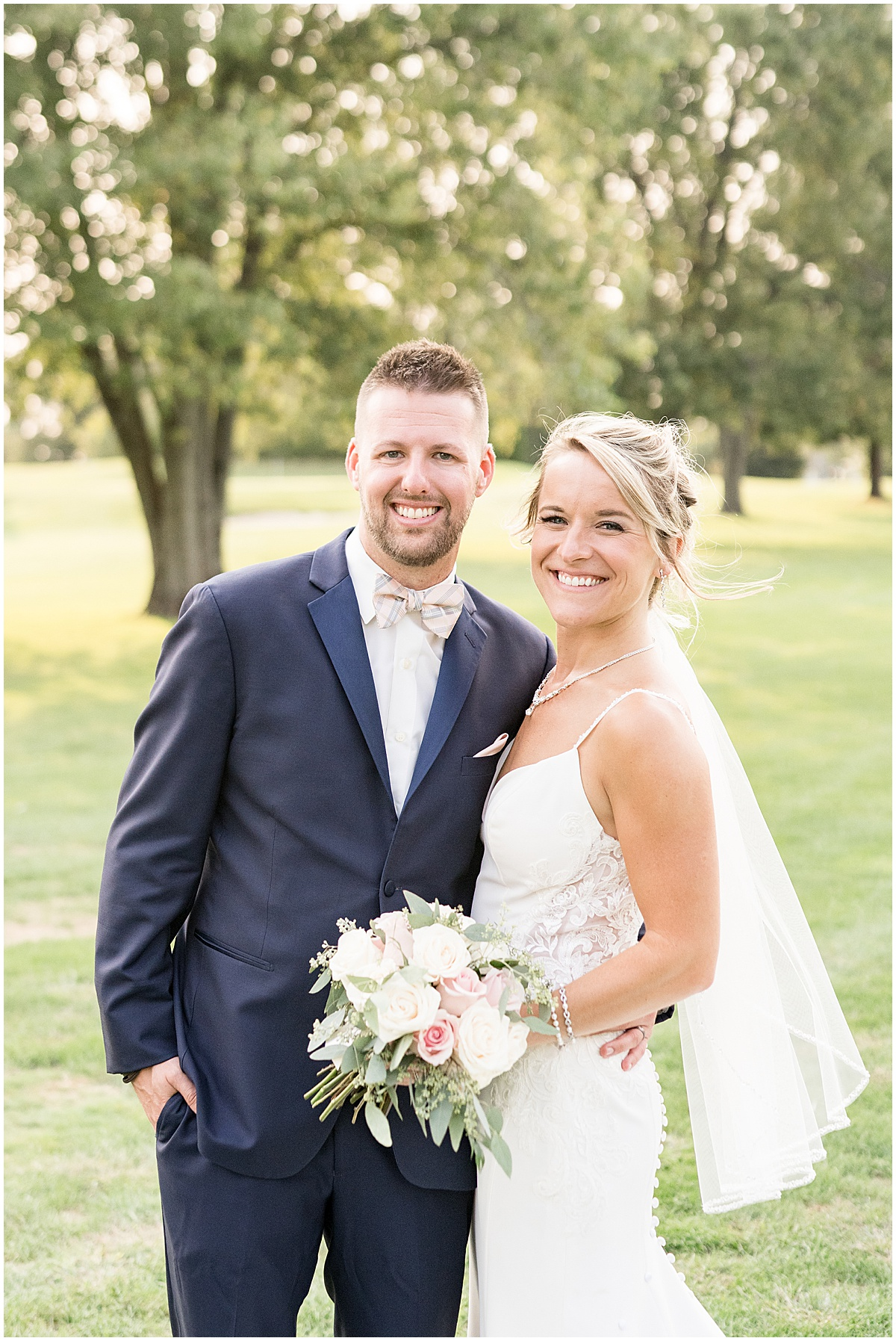 Bride and groom after wedding at The Edge in Anderson, Indiana