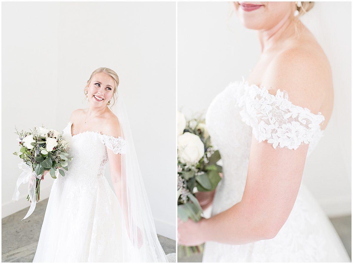 Bridal portraits for wedding reception at New Journey Farms in Lafayette, Indiana