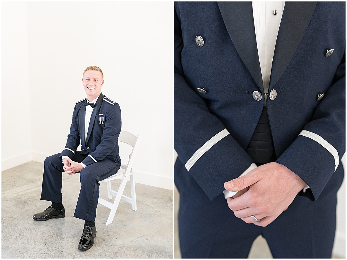 Groom portraits before wedding reception at New Journey Farms in Lafayette, Indiana