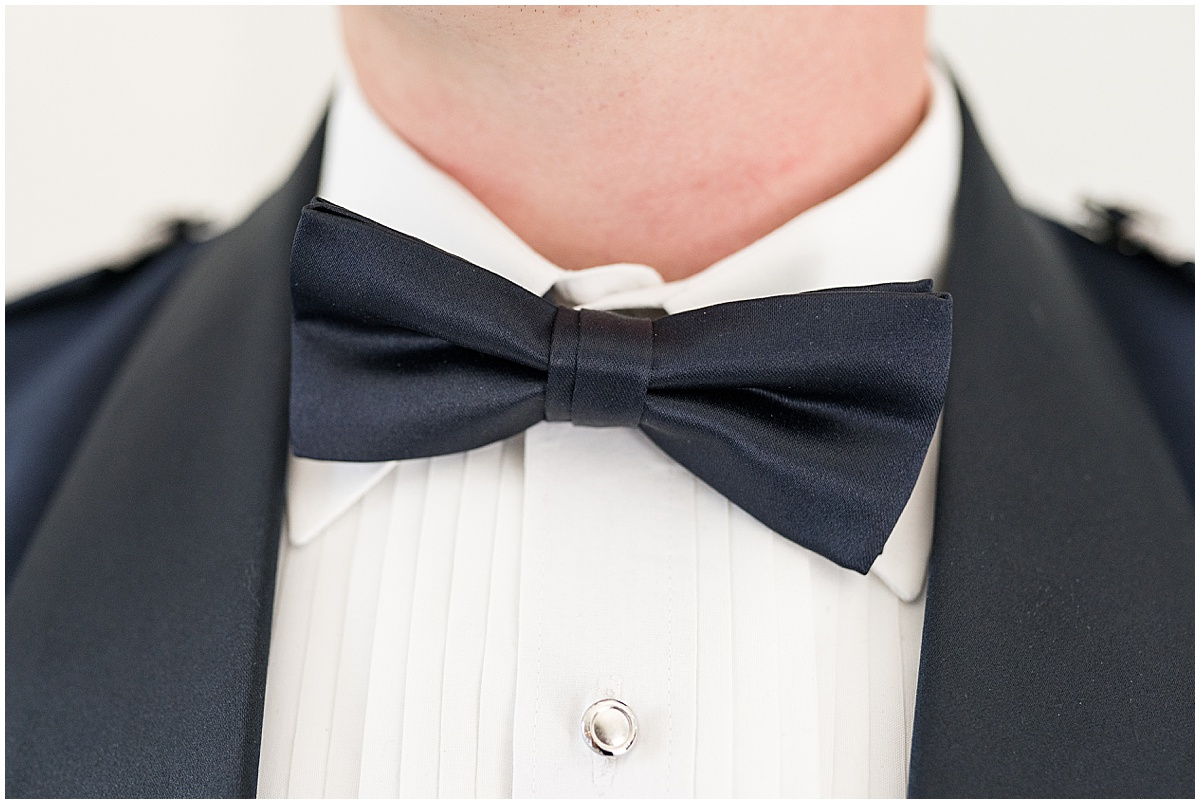 Groom details before wedding reception at New Journey Farms in Lafayette, Indiana