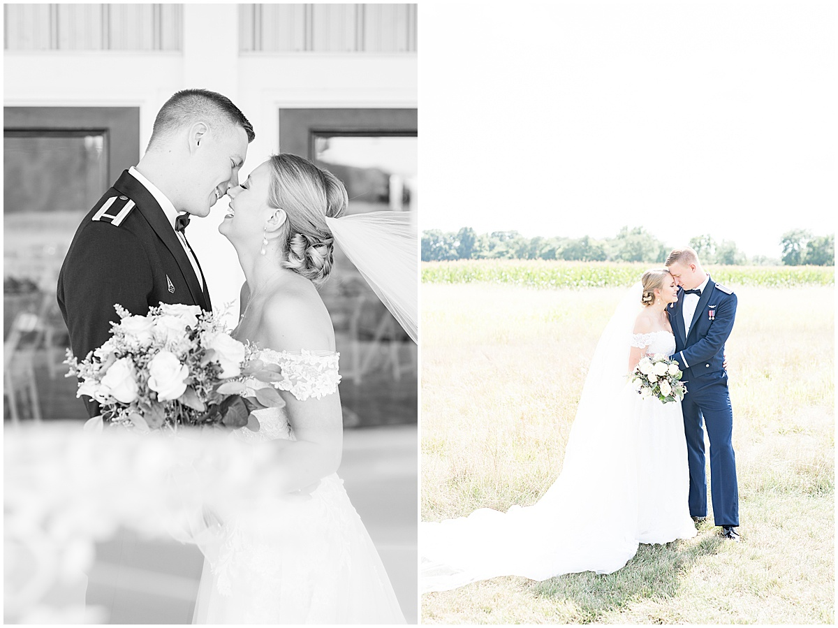 Bride and groom portraits at wedding reception at New Journey Farms in Lafayette, Indiana