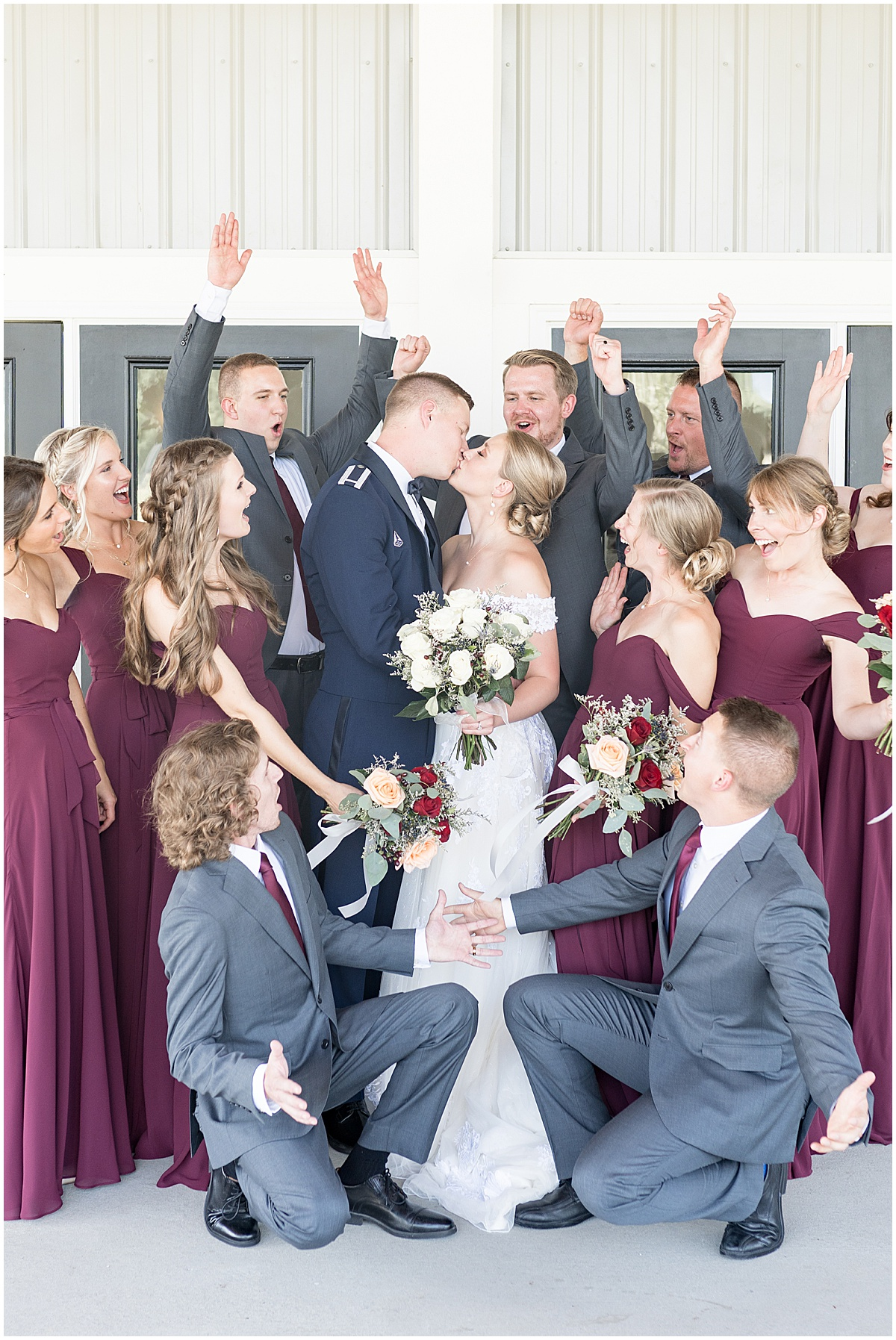 Bridal party photos at wedding reception at New Journey Farms in Lafayette, Indiana