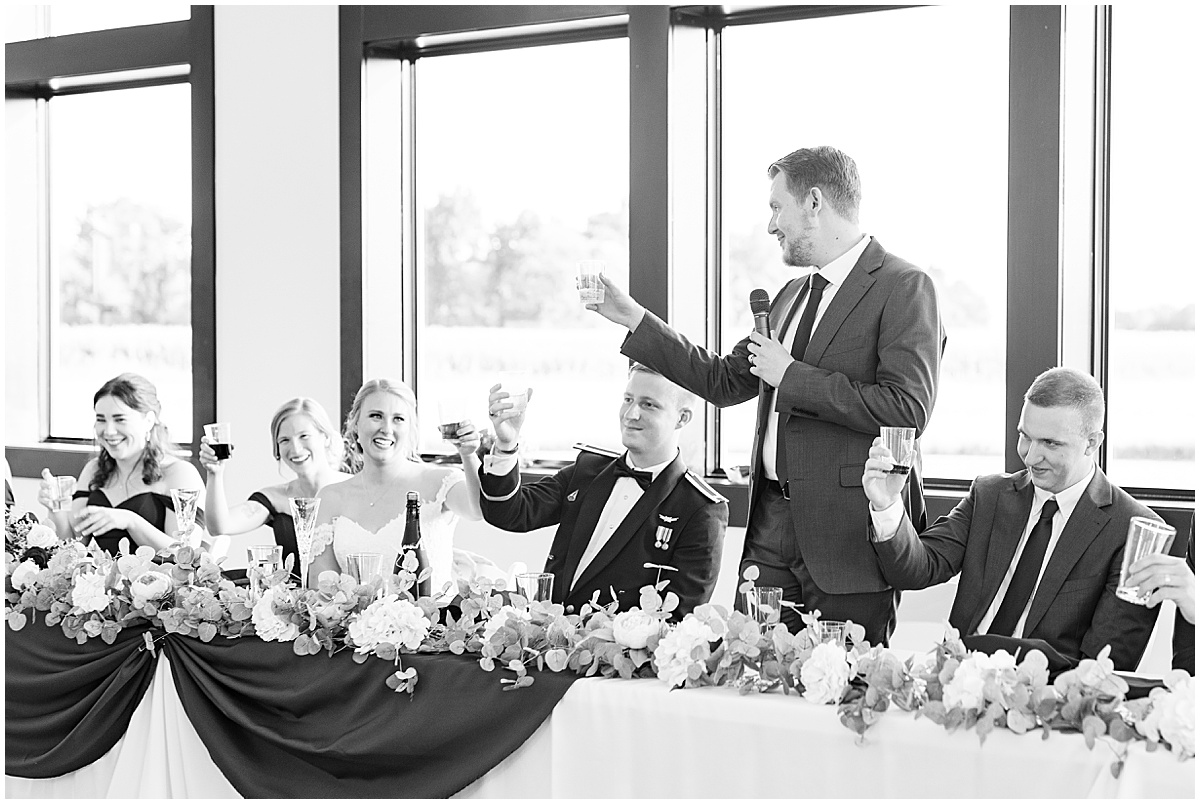 Speeches at wedding reception at New Journey Farms in Lafayette, Indiana