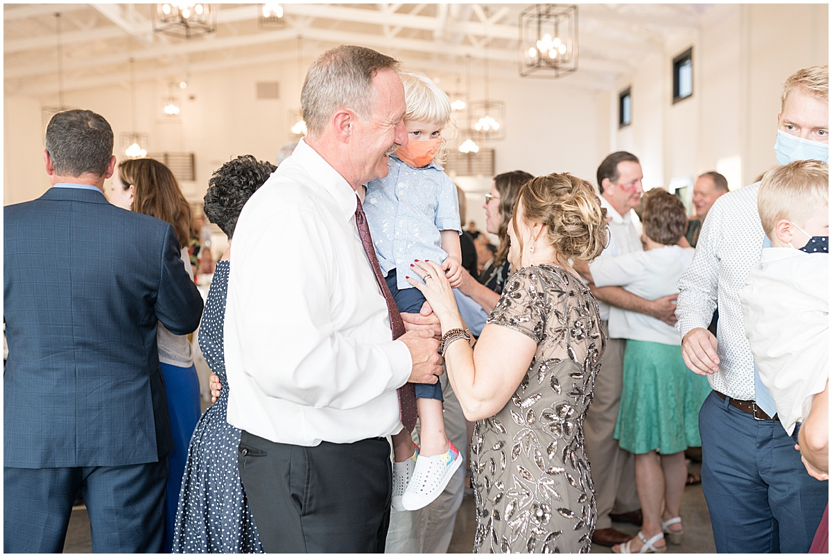 Dancing at wedding reception at New Journey Farms in Lafayette, Indiana