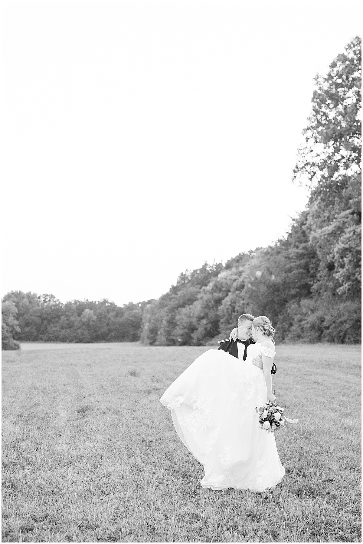 Sunset photos outside wedding reception at New Journey Farms in Lafayette, Indiana