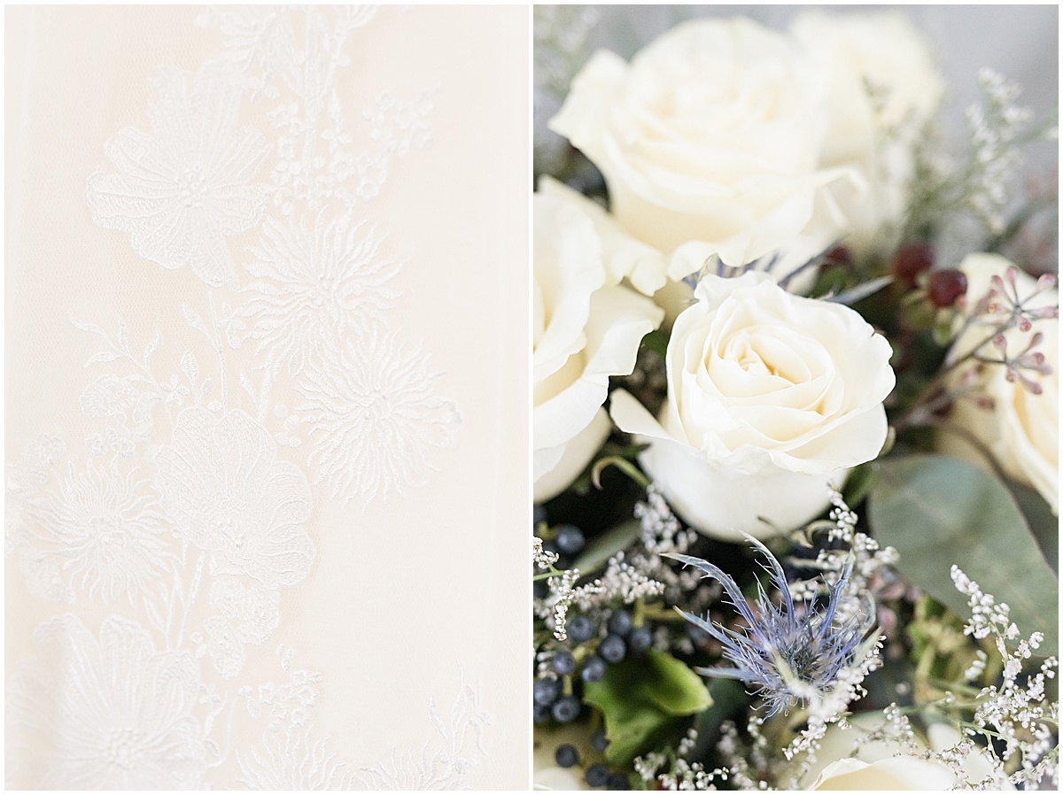 Bridal details for wedding reception at New Journey Farms in Lafayette, Indiana