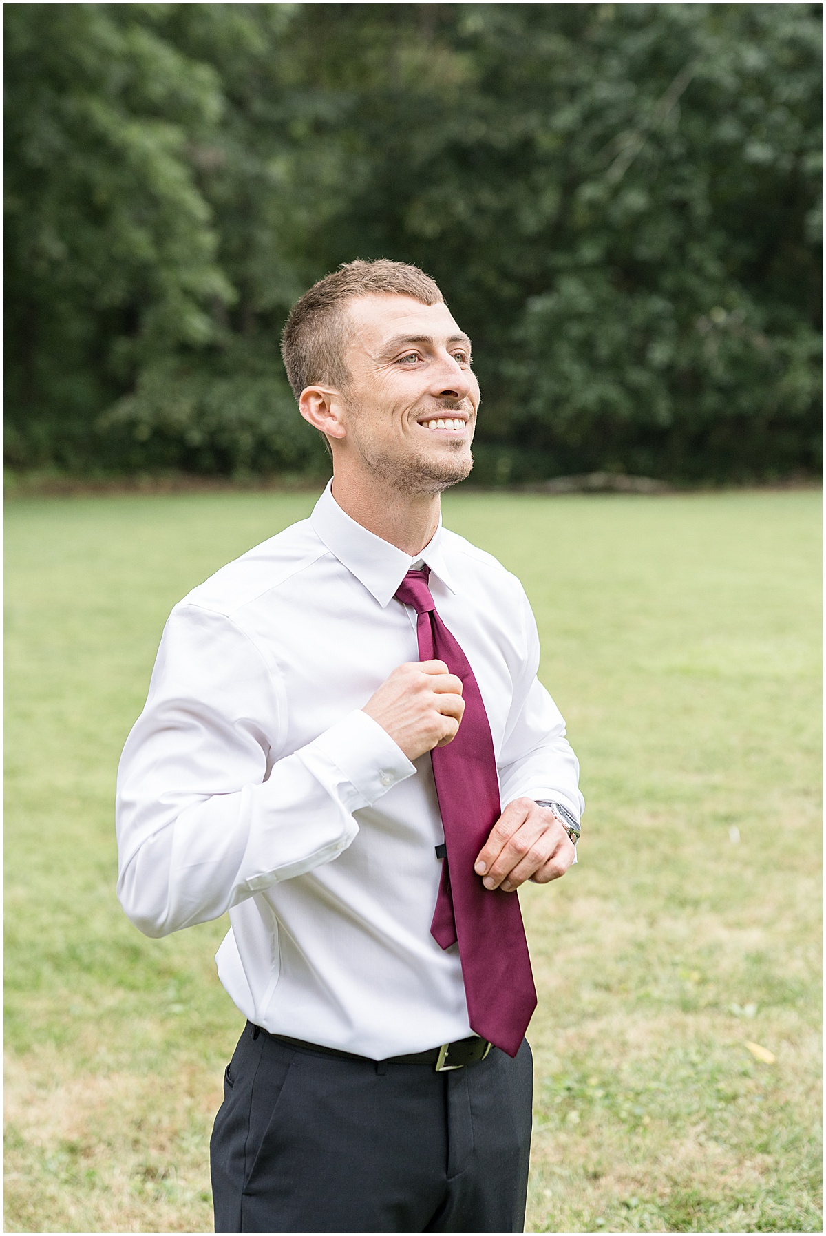 Groom getting ready for Wildcat Conservation Club wedding in Mulberry, Indiana