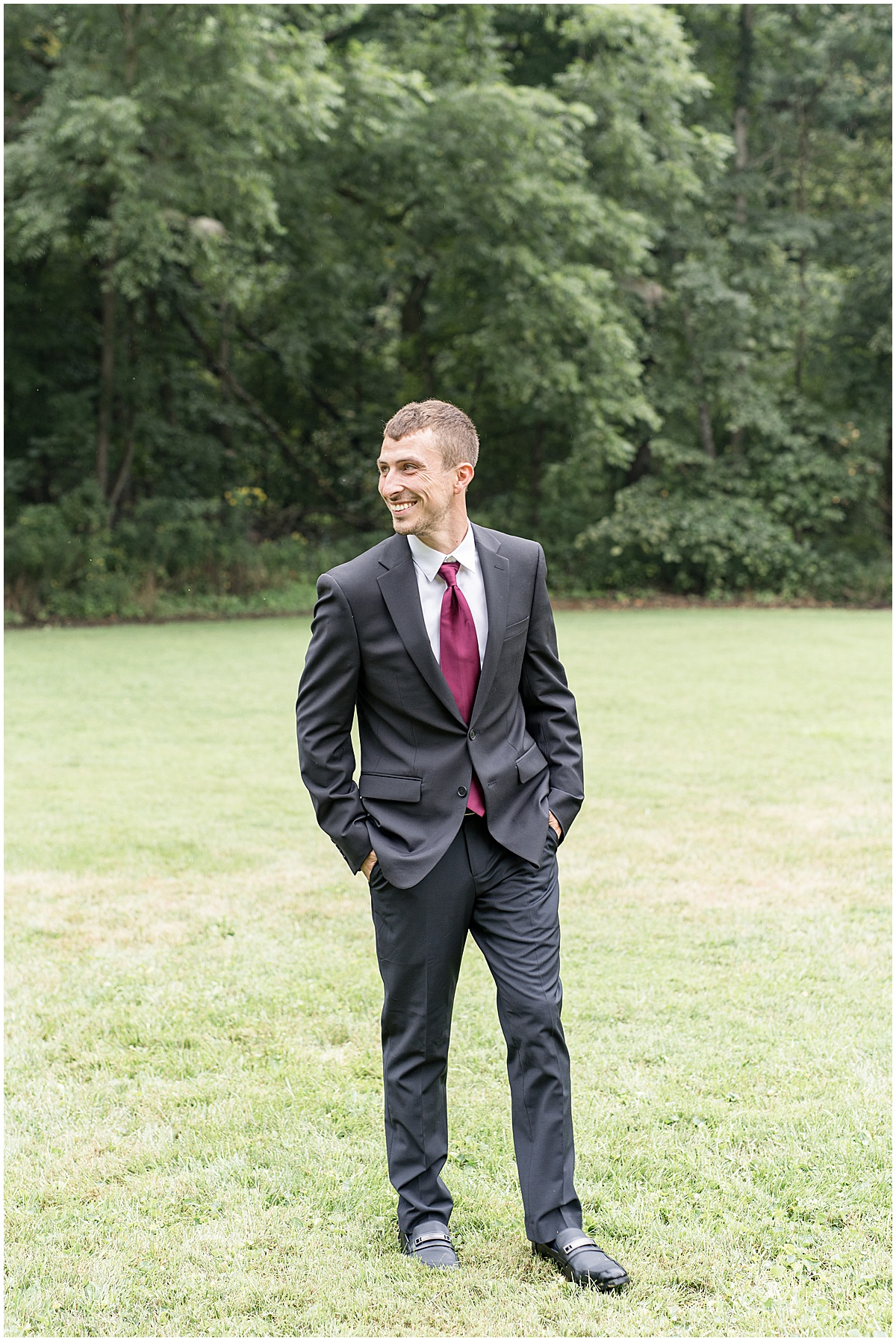 Groom portraits before Wildcat Conservation Club wedding in Mulberry, Indiana
