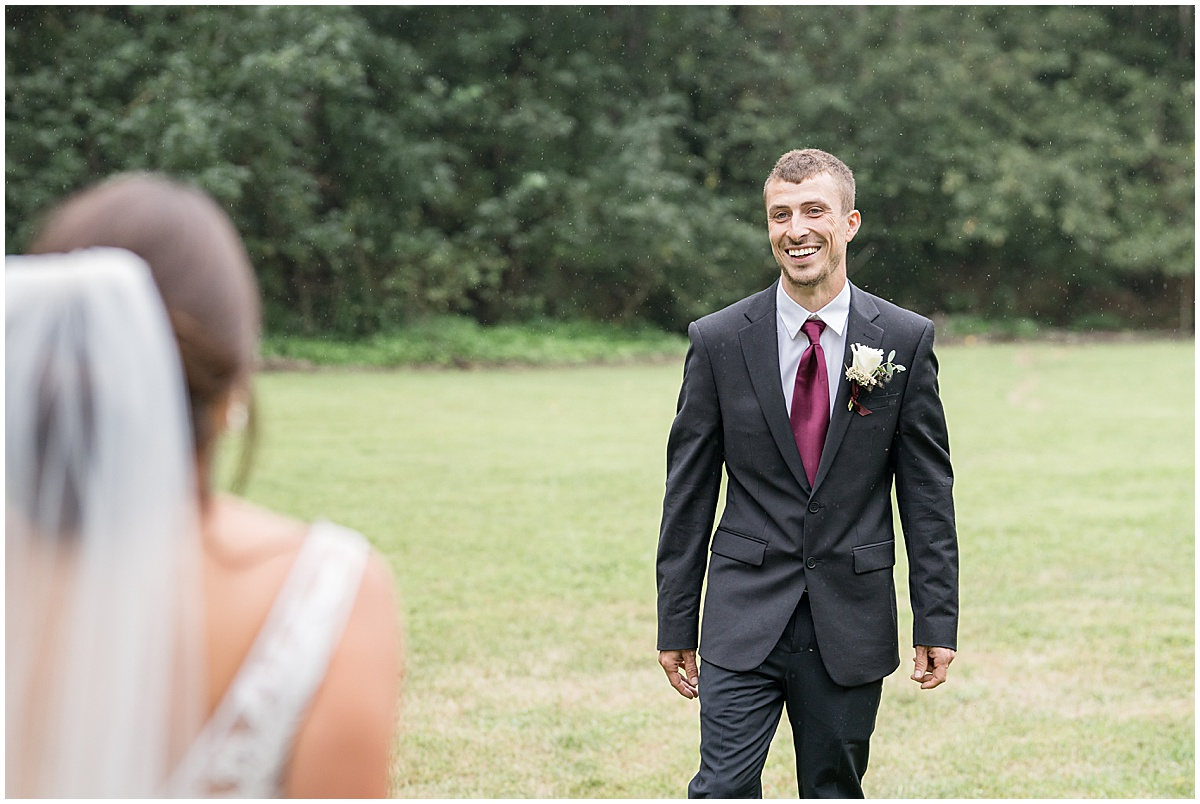 First look reaction at Wildcat Conservation Club wedding in Mulberry, Indiana