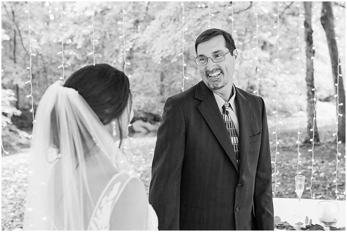 Father of the bride first look at Wildcat Conservation Club wedding in Mulberry, Indiana