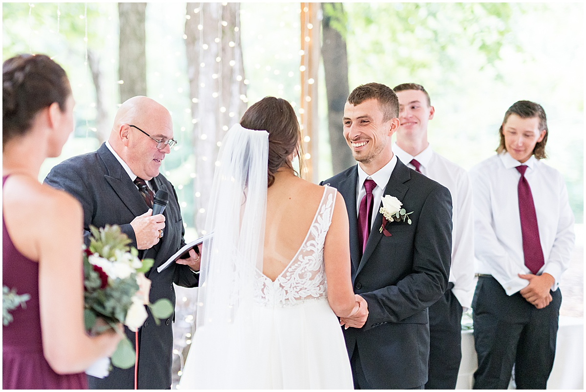 Wildcat Conservation Club wedding ceremony in Mulberry, Indiana