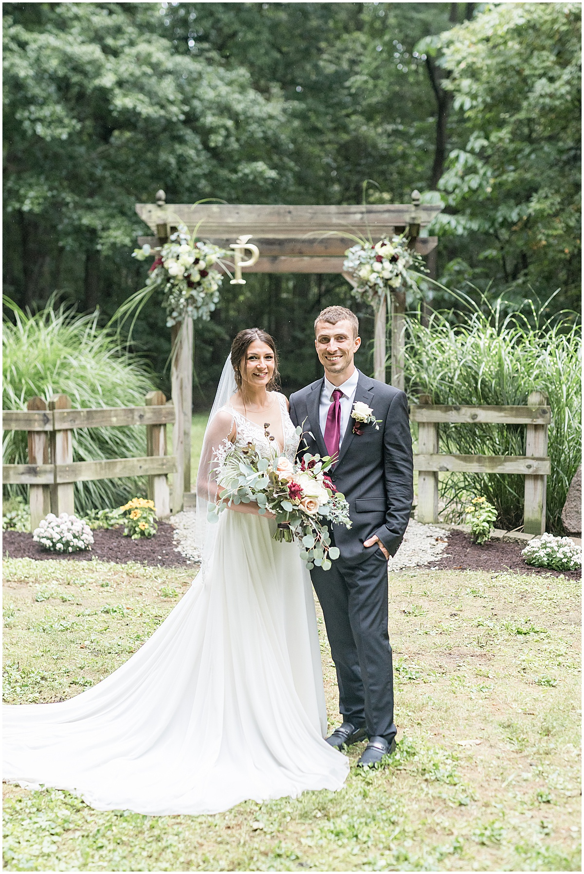 Bride and groom just married photos after Wildcat Conservation Club wedding in Mulberry, Indiana